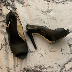 Michael Kors | Black | Leather | Sling Back Heels